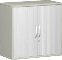 Anstell-Querrollladenschrank 1 Dekor-Einlegeboden, mit Stellfüßen, abschließbar, 800x425x720, Silber/Lichtgrau