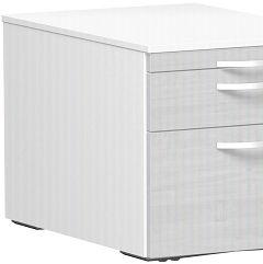 Rollcontainer Hängeregistratur und 1 Kunststoff-Schubfach, mit Utensilienschubfach, Metall-Rollschubführung, Zentralverriegelung, verdeckte Doppel-Lenkrollen, 438x600x565, Ahorn/Weiß