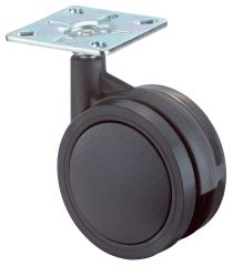 Kunststoffdoppelrolle, schwarz, Polyrad, weiche Lauffläche, Platte