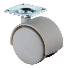 Kunststoffdoppelrolle grau, Anschraubplatte