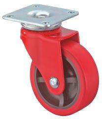 Lenkrolle, Gehäuse rot lackiert, Kunststoffrad schwarz, PE-Ring